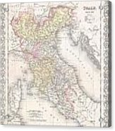 1856 Desilver Map Of Northern Italy Acrylic Print