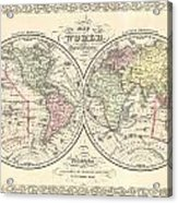 1856 Desilver Map Of The World  Acrylic Print