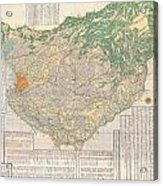 1856 Japanese Edo Period Woodblock Map Of Musashi Kuni Tokyo Or Edo Province Acrylic Print