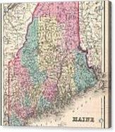 1857 Colton Map Of Maine Acrylic Print