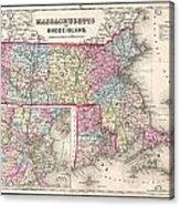 1857 Colton Map Of Massachusetts And Rhode Island Acrylic Print