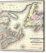 1857 Colton Map Of New Brunswick And Newfoundland Canada Acrylic Print