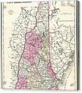 1857 Colton Map Of New Hampshire Acrylic Print