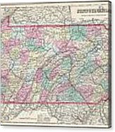 1857 Colton Map Of Pennsylvania Acrylic Print