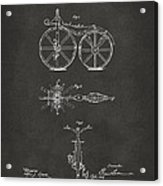 1866 Velocipede Bicycle Patent Artwork - Gray Acrylic Print by Nikki Marie Smith