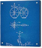 1866 Velocipede Bicycle Patent Blueprint Acrylic Print by Nikki Marie Smith