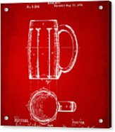 1876 Beer Mug Patent Artwork - Red Acrylic Print