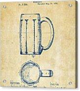 1876 Beer Mug Patent Artwork - Vintage Acrylic Print
