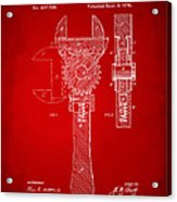 1878 Adjustable Wrench Patent Artwork - Red Acrylic Print