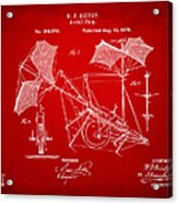 1879 Quinby Aerial Ship Patent - Red Acrylic Print