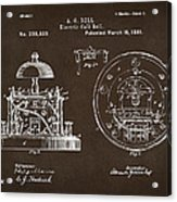 1881 Alexander Graham Bell Electric Call Bell Patent Espresso Acrylic Print