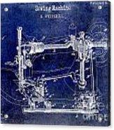 1885 Sewing Machine Patent Drawing Blue Acrylic Print