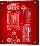 1889 First Computer Patent Red Acrylic Print
