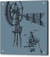 1889 Windmill On Blue Acrylic Print