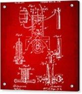 1890 Bottling Machine Patent Artwork Red Acrylic Print