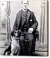 1890 Gentleman And His Dog Acrylic Print by Historic Image
