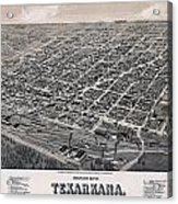 Vintage Perspective Map Of Texarkana Acrylic Print