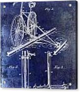 1891 Bicycle Patent Drawing Blue Acrylic Print