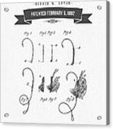 1892 Fishing Fly Patent Drawing Acrylic Print