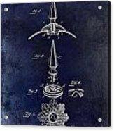 1892 Motorcycle Helmet Spike Patent Drawing Blue Acrylic Print