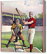 1895 Batter Up At Home Plate Acrylic Print