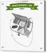 1896 Fishing Basket Patent Drawing - Green Acrylic Print