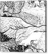 1897 Jugend Print Sick Woman Recovery Guardian Angel By Bernhard Acrylic Print
