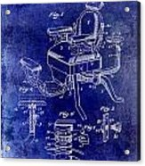 1901 Barber Chair Patent Drawing Blue Acrylic Print