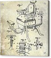 1901 Barber Chair Patent Drawing  Acrylic Print