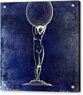 1901 Wine Glass Design Patent Blue Acrylic Print