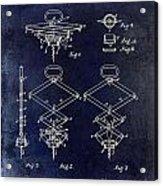 1902 Corkscrew Patent Blue  Acrylic Print