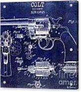1903 Colt Revolver Patent Drawing Blue Acrylic Print