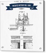 1906 Well Drilling Apparatus Patent Drawing - Retro Navy Blue Acrylic Print