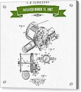 1907 Fishing Reel Patent Drawing - Green Acrylic Print