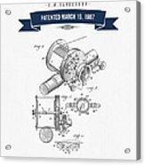 1907 Fishing Reel Patent Drawing - Navy Blue Acrylic Print