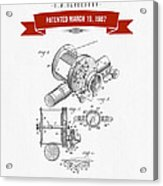 1907 Fishing Reel Patent Drawing - Red Acrylic Print