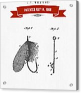 1908 Fish Hook Patent Drawing - Retro Red Acrylic Print