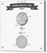1908 Taylor Golf Ball Patent Drawing - Retro Gray Acrylic Print