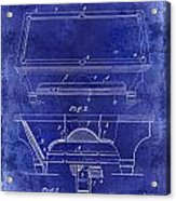 1909 Billiard Table Patent Drawing Blue Acrylic Print