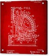 1910 Cash Register Patent Red Acrylic Print