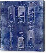 1910 Cigar Cutter Patent Drawing Blue Acrylic Print