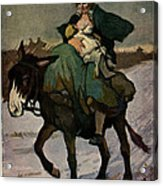 1913 Jugend Art Print Woman Riding Dunkey Suckling Baby Hard Tim Acrylic Print