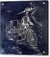 1913 Motorcycle Side Car Patent Blue Acrylic Print