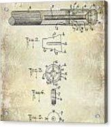 1915 Billiard Cue Patent Drawing  Acrylic Print