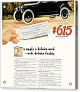 1916 - Willys Overland Roadster Automobile Advertisement - Color Acrylic Print