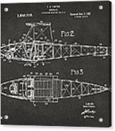 1917 Glenn Curtiss Aeroplane Patent Artwork 2 - Gray Acrylic Print