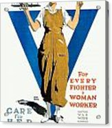 1918 - Ywca Patriotic Poster - World War One - Color Acrylic Print