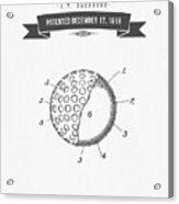 1918 Tennis Racket Patent Drawing - Retro Gray Acrylic Print