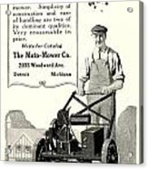 1921 - Moto Mower Lawnmower Advertisement Acrylic Print