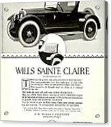 1921 - Wills Sainte Claire Automobile Roadster Advertisement Acrylic Print